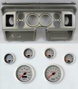 80-86 Ford Truck Silver Dash Carrier W/ 3-3/8 Concourse Series Silver Gauges