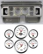 80-86 Ford Truck Silver Dash Carrier W/ 3-3/8 Concourse Series White Gauges