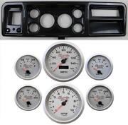 73-79 Ford Truck Carbon Dash Carrier W/ 3-3/8 Concourse Series Silver Gauges