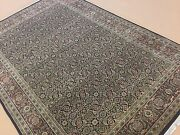6and039.2 X 9and039.2 Black Rust Very Fine Geometric Oriental Area Rug Hand Knotted Wool