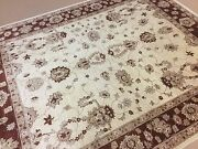 Oriental Area Rug Ziegler Hand Knotted Wool Beige Burgundy 8and039.0 X 9and039.9