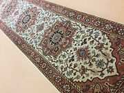 Oriental Rug Long Runner Sarape Hand Knotted Beige Rust 2and039.6 X 19and039.8