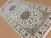 4and039.1 X 9and039.1 Beige Fine Floral Oriental Area Rug Wide Runner Hand Knotted Foyer