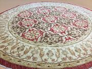 8and039.3 X 8and039.4 Round Red Fine Geometric Oriental Rug Ziegler Hand Knotted Wool