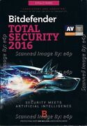 Bitdefender Total Security 2016 3 Pcs 2 Years Brand New Factory Sealed Retail