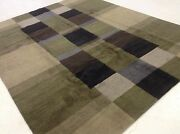 8and039.0 X 10and039.1 Green Blue Gray Fine Modern Oriental Area Rug Hand Knotted Wool
