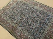 5and039.1 X 6and039.9 Navy Blue Rust Fine Geometric Oriental Area Rug Hand Knotted Wool
