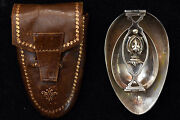 Antique .800 Silver Double Folding Spoons With Original Leather Pouch