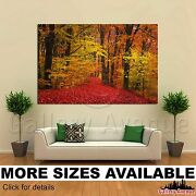 A Wall Art Canvas Picture Print - Autumn Forest Red Orange Trees 3.2