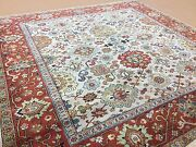 8and039 X 8and039 Square Beige Rust Fine Geometric Oriental Rug Hand Knotted Wool Foyer