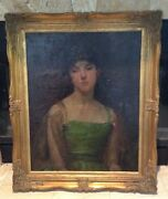 Milan Petrovits Original Portrait Oil Painting The Lady In The Green Dress