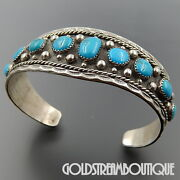 Neal Paquin Jemez Sterling Silver Graduating Turquoise Beaded Cuff Bracelet 7