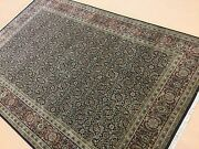 6and039.0 X 9and039.2 Navy Blue Rust Fine Geometric Oriental Rug Hand Knotted Wool Foyer