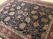 8and039.2 X 10and039.2 Navy Blue Rust Fine Geometric All Over Oriental Rug Handmade Wool