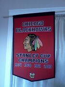 Chicago Blackhawks Nhl Embroidered Wool Stanley Cup Dynasty 24x36 Banner And Dowel