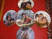 5 Vintage Porcelain Perillo Plates 4 8 And 1 10 American Indian Cheif Tecumseh