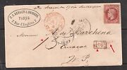 France 36 Y And T 32 Rose On Pinkish Very Fine Used On Cover To Curaco