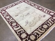 5and039.6 X 7and039.6 Beige Red Modern Floral Oriental Area Wool Rug Hand Knotted