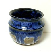 STUDIO ART POTTERY STONEWARE GLAZED SMALL POT BOWL ARTIST SIGNED