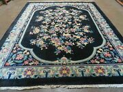 8and039 X 10and039 Vintage Hand Made Art Deco Plush Chinese Wool Rug Center Flower Black