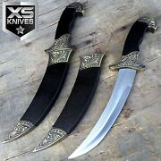12 Boneedge Medieval Black Intricate Steel Collectible Dagger W/ Scabbard Gift
