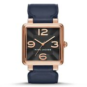 New Marc Jacobs Vic Rose Gold Tonenavy Blue Leather Bandwatch-mj1530