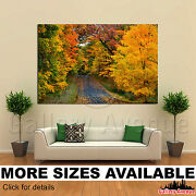 A Wall Art Canvas Picture Print - Red Orange Green Yellow Trees Road 3.2