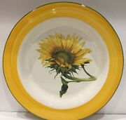 """Italy White Ceramic Serving Bowl Hand-Painted Sunflower Design Yellow Green 16""""D"""