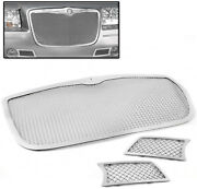 For 2005-2010 300c 3pcs Upper +bumper Stainless Steel Mesh Grille Grill Set