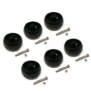 Pack Of 6 Smooth Deck Wheel With Bolt, Nut For Husqvarna 589527301 And 587048801