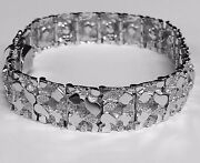 10kt Solid White Gold Handmade Mens Nugget Bracelet 14 Mm 48 Grams 9 Inches