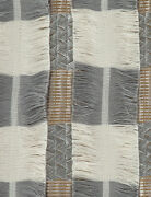 Contemporary Woven /embroidered Stripe Fringe Multipurpose Fabric Gray 5 Yards