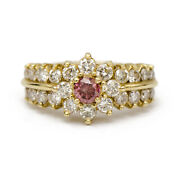 Stunning Irradiated Pink Diamond Vintage Inspired Ring In 14k Gold