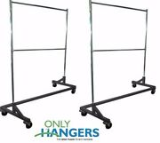 Only Hangers Commercial Double Rail Rolling Z Rack Black Base Set Of 2