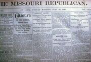 Original 1878 St Louis Missouri Newspaper Dated In The Era Of Outlaw Jesse James