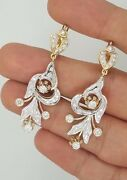 Russian Style 14k Yellow Gold And White Gold Hanging Diamond Drop Long Earrings