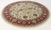 8' X 8' Round Ivory Rust Fine Traditional Oriental Rug Hand Knotted Wool Foyer