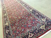 2and039.6 X 13and039.5 Red Navy Blue Fine Geometric Oriental Rug Long Runner Handknotted