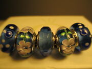 5 Pandora 925 Ale Silver Blue Bubbles White Flowers Murano Glass Beads Charm New