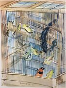 Raoul Dufy 1877-1953 Modernist Color Lithograph Of Birds In A Bird Cage 1939