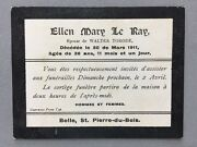 Genealogy Memorial Death Funeral Card A52 Ray Ellen Mary Age 36 1911 Guernsey