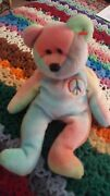 Ty Original Beanie Baby Rare Peace Bear Dob February 1 1996 Tie Dye Peace Sign