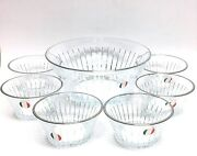 New 7 Pc Set 9.5 Glass,crystal+silver Accent Edge-6 Dessert+serving Bowl-italy