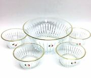 New 5 Pc Set 7.25 Crystal Serving Bowl+gold Trim Edge+4 Dessert Bowl-from Italy