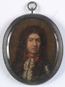 Anglo-dutch School Of The 17th Century Portrait Of An Aristocratoil Miniature