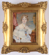 Mary Matilda Betham Lady In A White Gown Extremely Rare Miniature 1817