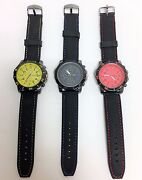 New Geneva Gun Metal Tone,black Silicone Band With Stitches Large Dial Watch