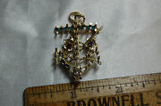 Vintage Us Navy Chiefs Anchor Pin Ww2 With Red White And Blue Stones Rope Design