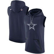 Dallas Cowboys Nike Sleeveless Therma-fit Pullover Hoodie - Navy