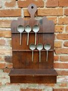 Late 18th Century English Antique Oak Spoon Rack + 6 X 17thc Pewter Spoons